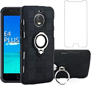Asuwish Compatible with Moto E4 Plus Motorola E4+ Case(Not Fit Moto E4) Tempered Glass Screen Protector and Stand Ring Cell Accessories Holder Kickstand ProtectivePhone Cases for e4+ e4plus Black