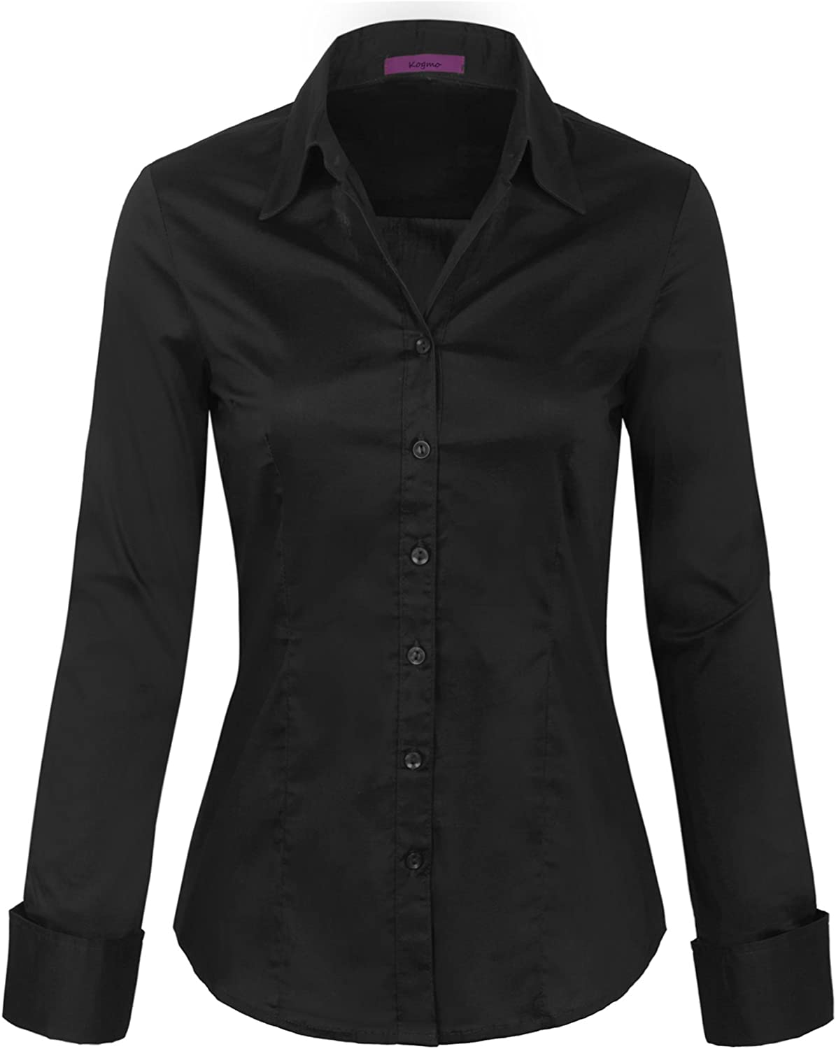 KOGMO Womens Long Sleeve Button Down Shirts Office Work Blouse (S-3X)