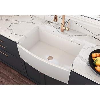 "MOCCOA 30"" Regallo Authentic Fireclay Farm Sink Apron Front, Kitchen Sink, Farmhouse Sink, Reversible - Single Bowl Sink White"