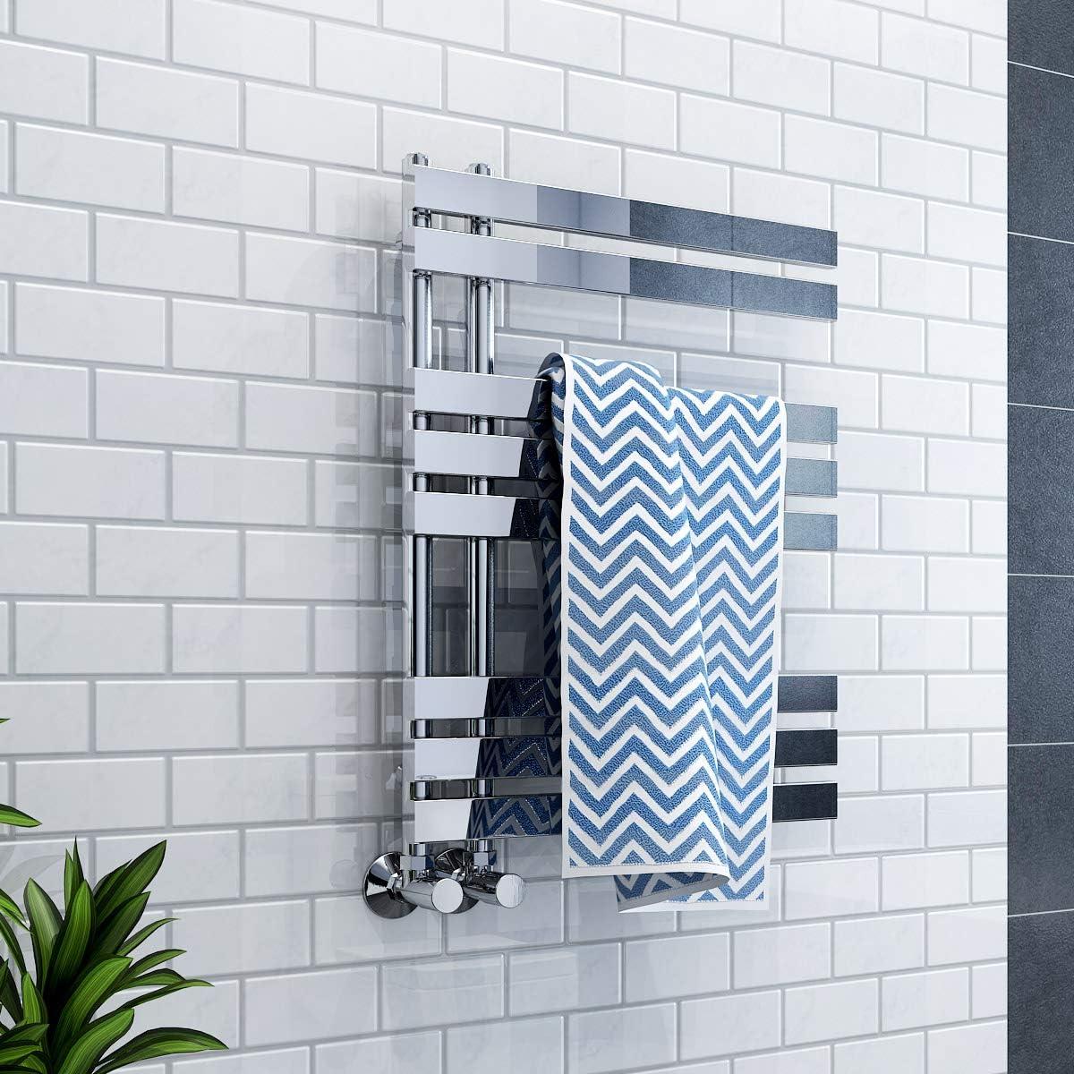 Best for any Bathroom /& Kitchen WarmeHaus 800 x 600 mm Chrome Flat Designer Heated Towel Rail Radiator