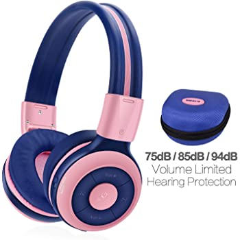 SIMOLIO Kids Headphones Bluetooth,15 Hrs Playing Wireless Foldable Headphone w/Mic and Volume Limited, Share Port, Hard EVA Case, Over-Ear Stereo Headphone for PC/iPad/Tablet Home School Airplane-Pink
