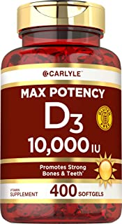 Vitamin D 10000 IU 400 Softgels | Value Size | Max Potency | Promotes Strong Bones and Teeth | Non-GMO, Gluten Free Supple...