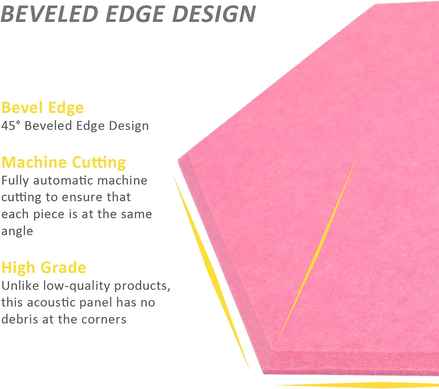 Pink 12 PCS Acoustic Panels Sound Proof Dampening Panel 14 X 13 X 0.4 Inch Wall Decor Hexagon Soundproof Padding for Home Office