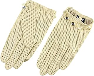 SHENTIANWEI Women's Leather Gloves Perforated Breathable Single Leather Touch Screen Full Finger Gloves (Color : Beige, Size : S)