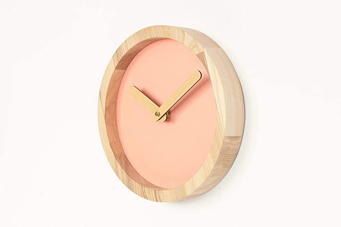 Handmade pink wooden wall clock 9. 8 x 9. 8 x 1. 6 inches
