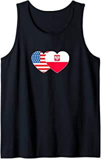 Poland & USA Flag Twin Heart for Polish Americans July 4th. Tank Top