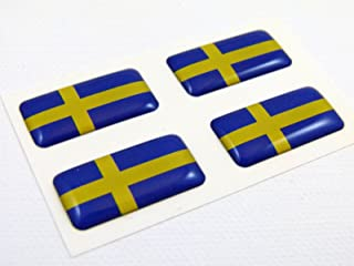 Sweden Swedish Mini Domed Flag Decals 4 Emblems Car auto Bike Boat. Stickers