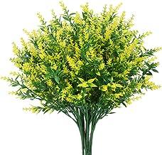 8 Bundles Artificial Lavender Flowers Outdoor Fake Flowers for Decoration UV Resistant No Fade Faux Plastic Plants Garden ...