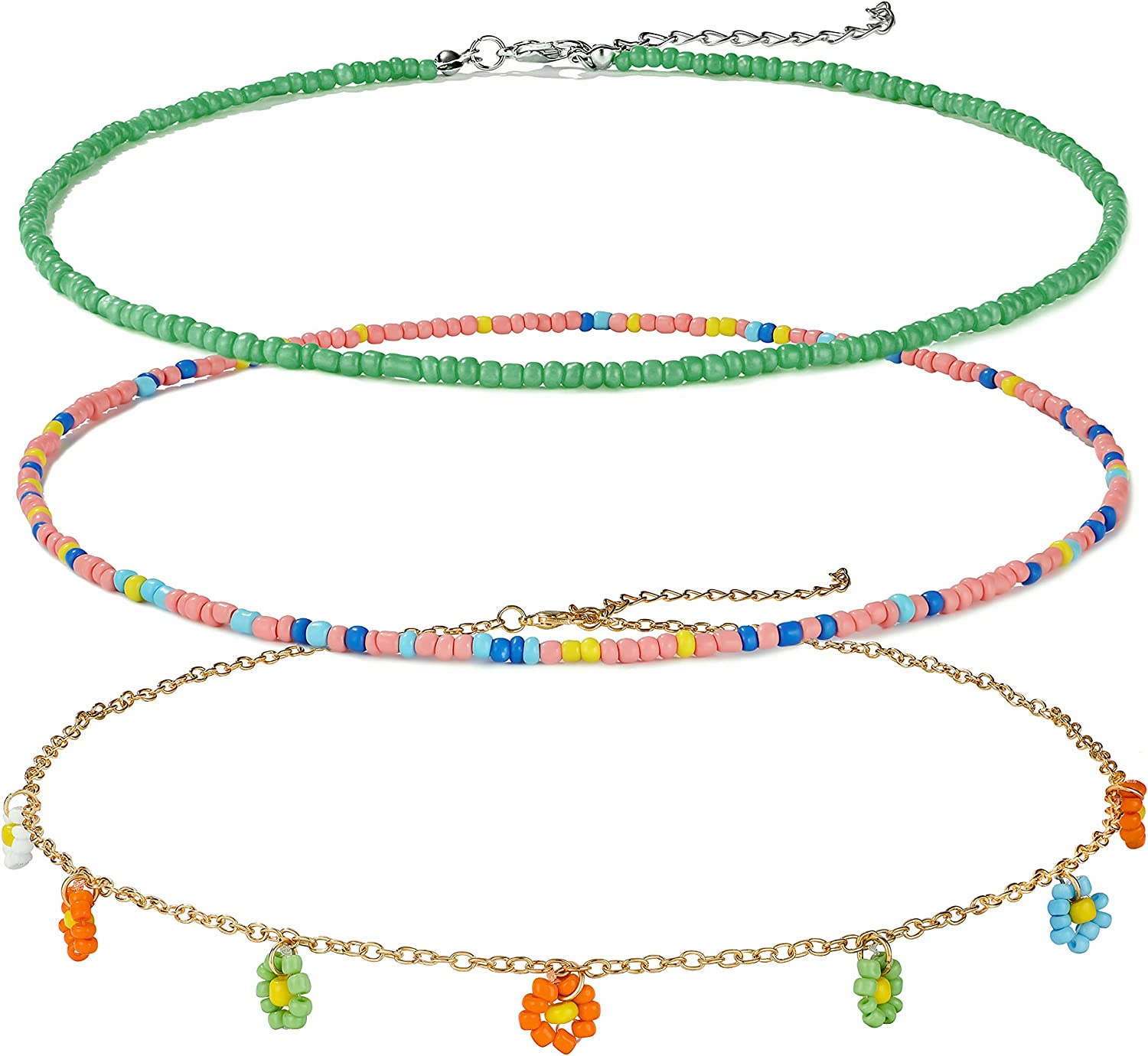 Buleens Seed Beaded Necklace Set For Women Summer Colorful Bead Necklaces Girls Beach Rainbow Smiley Face Bohemian Choker Flower Sea Sunflower Beads Daisy Multicolor Party 90s Clear Stackable Western Trendy Cute Aesthetic Fun Jewelry Simple Indie Womens T