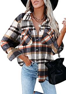 Womens Corduroy Button Down Shirts Boyfriend Long Sleeve...