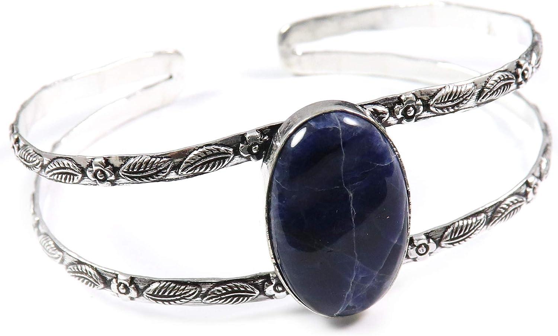 half GoyalCrafts Sodalite Cuff Bracelet Super sale Natural Plated Silver Jewelry