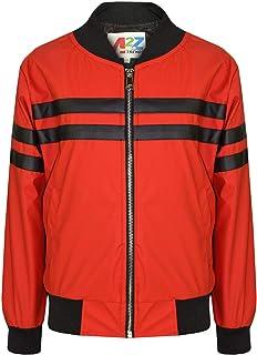 Kids Boys Girls Jacket Contrast Striped Red PU Bomber Varsity School Bikers Coat