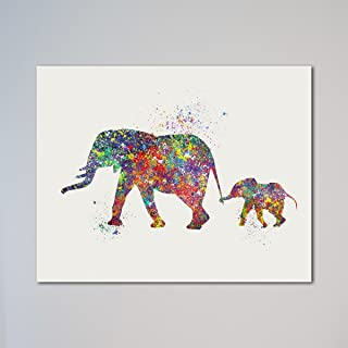 Elephant Family Mom and Baby Elephants 11 x 14 inches Print