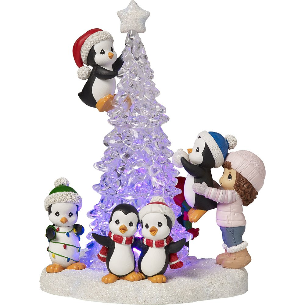 Image of LED Lighted Precious Moments Penguins Christmas Figurine
