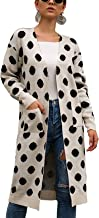 BTFBM Women Fashion Polka Dot Print Long Sleeve Open Front Warm Long-Length Knitted Sweater Cardigan Knitwear with Pockets