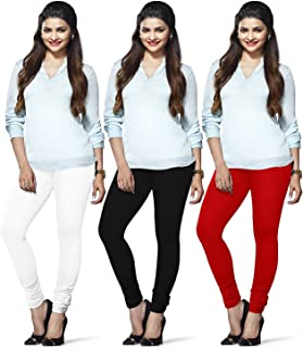 Dollar Missy Women's Poly Cotton Leggings (Black, Red and White, Free Size) -Pack of 3