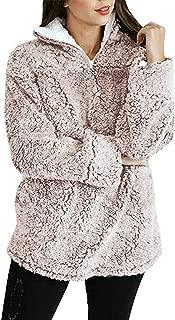 Women's Long Sleeve 1/4 Zipper Pullover Sherpa Fleece Winter Oversized Outwear Sweatshirt Coat with Pockets
