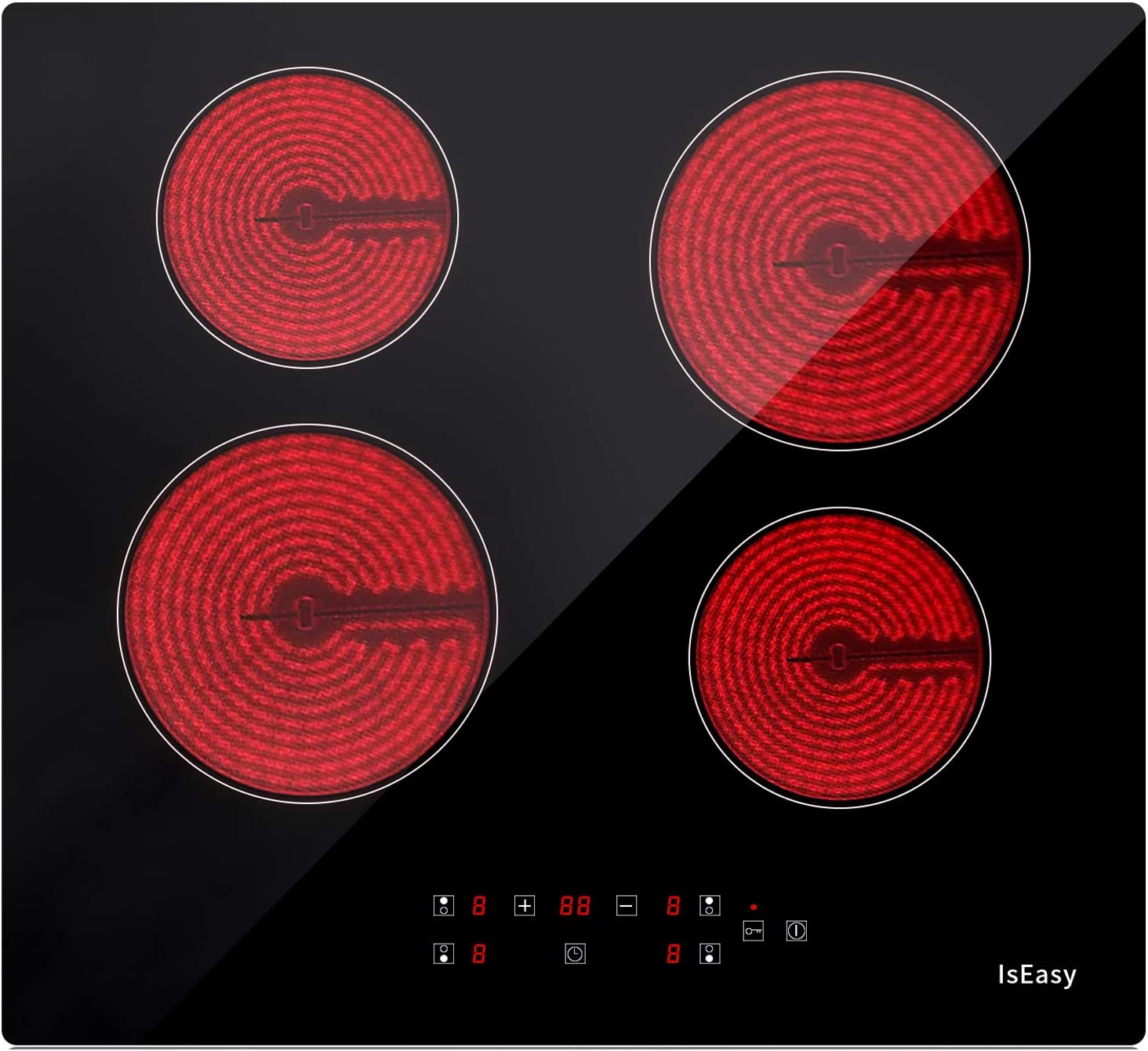 Placa de vitrocerámica 4 fogones de 60 cm de ancho, color negro