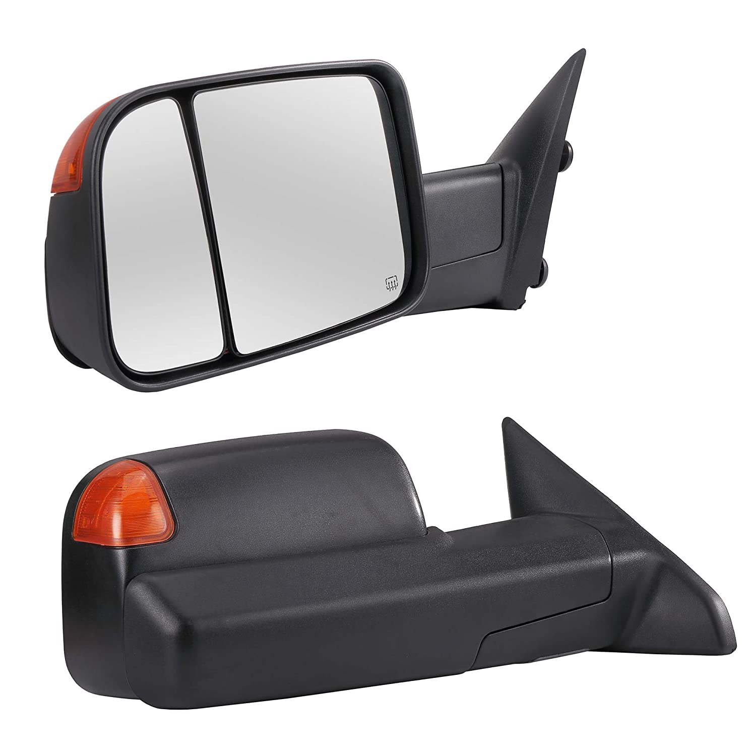 Towing Mirrors Passenger & Driver Side Power Operated & Heated With Amber Signal Black Finish & Temperature Sensor Fits 09-17 Dodge Ram 1500 2500 3500 - Manual Folding