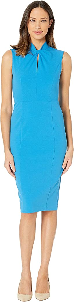 Sleeveless Crepe Dress with Tie Knot Front