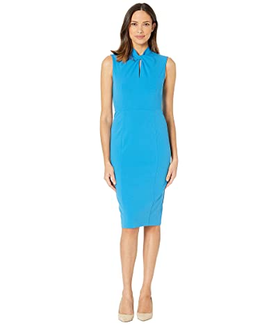 Donna Morgan Sleeveless Crepe Dress with Tie Knot Front (Aqua) Women