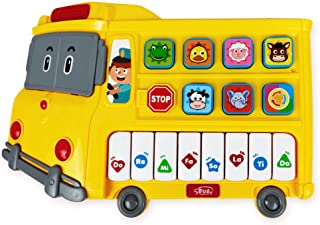 Learning School Bus Toy w/ Lights and Music – 8 Musical Note Piano Keys, 6 Animal Sounds Buttons and Mode Button – Toy Bus w/ Flashing Lights – Fun Toy School Bus for Babies 6+ Months