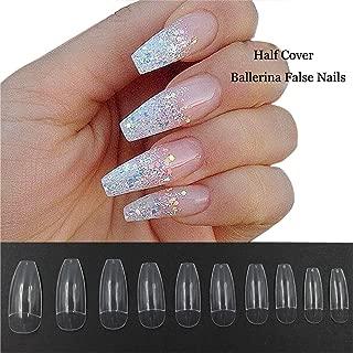 500PCS Coffin Nails Half Cover Ballerina Nail Tips False Artificial Acrylic Nails (Half-Clear)