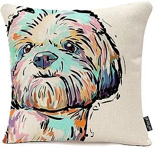 Colorful Art Cartoon Dog Waist Throw Cushion Cover Cotton Linen Pillow Case Home Sofa Decor Pillow Case Cushion 18 x 18 Inch