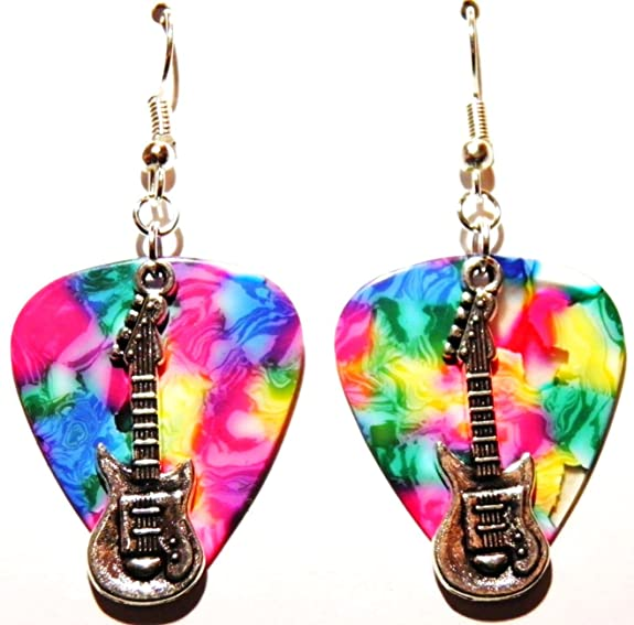 Music Note Charm Guitar Pick Earrings with Surgical Steel Earwires