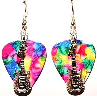 Electric Guitar Charm on Guitar Pick Earrings