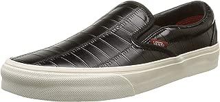 Vans Unisex Croc Leather Slip-On Skateboarding Shoes-Black