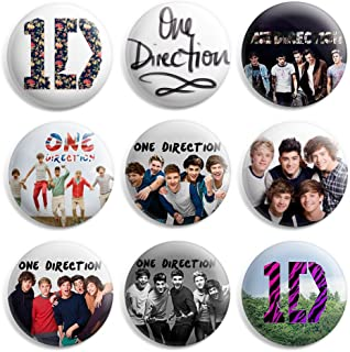 One Direction 1D Pinback Buttons Pin Badges 1 Inch (25mm) - Pack of 9