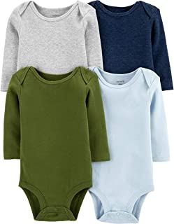 Carter's Baby 4 Pack Long Sleeve Bodysuit Set, Boys Solid, 18 Months