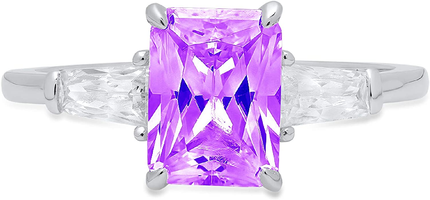 2.0 ct Emerald Baguette cut 3 stone Solitaire with Accent Natural Purple Amethyst Gem Stone Ideal VVS1 Engagement Promise Statement Anniversary Bridal Wedding Ring 14k White Gold