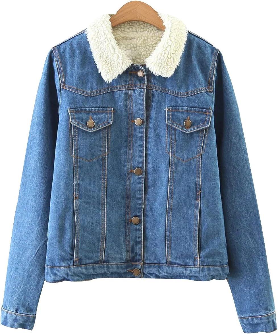 Trendy XU Winter Vintage Style Blue Outwear Denim Jacket Faux Fur Jean Coat