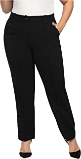 Chicwe Women's Stretch Plus Size Straight Leg Pants with Double Tabs Waistband