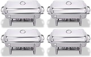 VEVOR Chafing Dish 9L Chafing Dish Elektrisch Edelstahl Chafing Dish 4 Set Behälter Warmhaltebehälter Speisewärmer 4 Sets