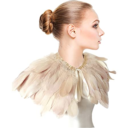 Fenyong Victorian Natural Feather Shrug Shawl Shoulder Wrap Cape with Gothic Collar