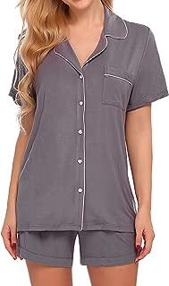 Pajamas Set Short Sleeve Sleepwear Womens Button Down Nightwear Soft Pj Lounge Sets XS-XXL