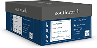 "Southworth 24% Cotton #10 Envelopes, 4.125"" x 9.5"", 24 lb/90 GSM, Linen Finish, White, 250 Count - Packaging May Vary (J554-10)"