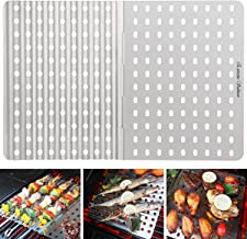Extreme Salmon Grill Mat, BBQ Grill Mats Grilling Replacement Stainless Steel Grill Tray Grid Reusable Barbecue Grill Accessories for Grilling Meat Vegetables for Gas Charcoal Grill Oven Smoker
