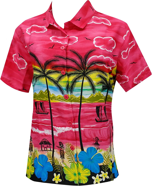 LA LEELA Women's Tropical Camp Hawaiian Blouse Shirt Casual Button Down Printed