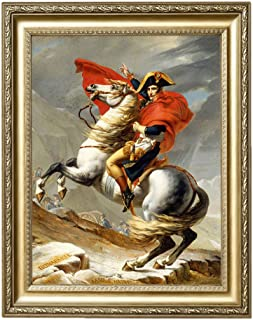 Eliteart- Napoleon Crossing The Alps by Jacques-Louis DavidOil Painting Reproduction Giclee Wall Art Canvas Prints-Framed Size:28