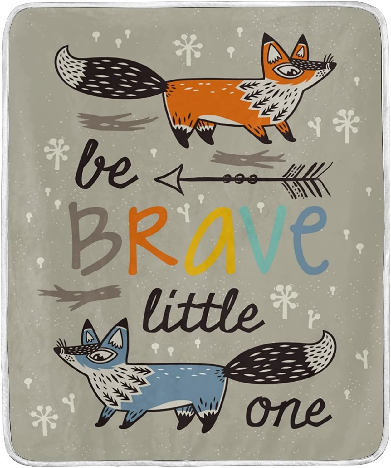 ALAZA Home Decor Be Brave Quotes Fox Arrow Blanket Soft Warm Blankets for Bed Couch Sofa Lightweight Travelling Camping 60 x 50 Inch Throw Size for Kids Boys Women