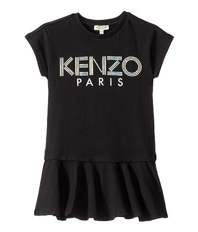 Kenzo Kids Short Sleeve Dress w/ Logo in Metallic Ink (Toddler/Little Kids) (Black) Girl