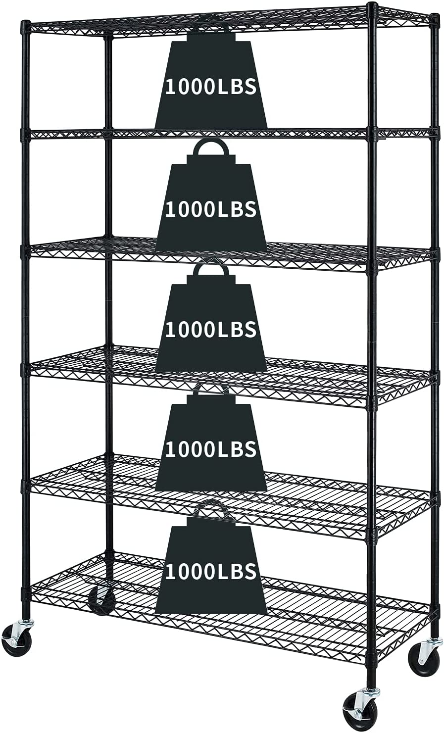 6-Tier Storage At the price of Max 49% OFF surprise Shelf Heavy Duty Height Shelving Unit NSF