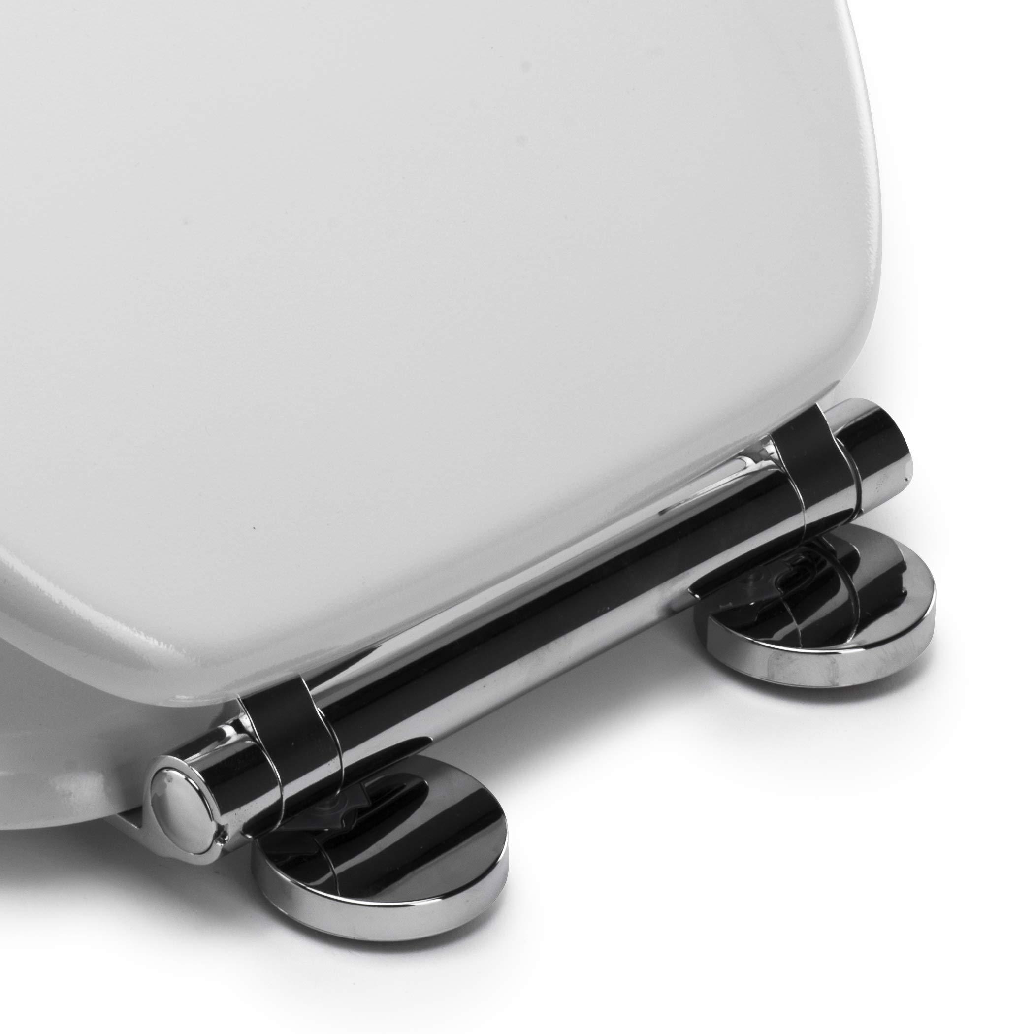 White Wood Croydex Flexi-Fix Lugano Always Fits Never Slips Slow Close Anti Bacterial Toilet Seat 43 x 36.8 x 6 cm