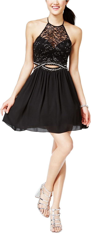 B. Darlin Womens Cutout Illusion Fit & Flare Dress