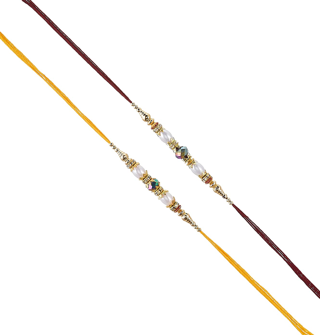 Set of Two Rakhi, Ring & Moti, Thread. Rakhi, Raksha Bandhan Gift for your Brother, Vary Color