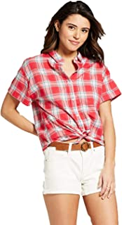 Women's Short Sleeve Plaid Button-Down Shirt - Red Plaid -